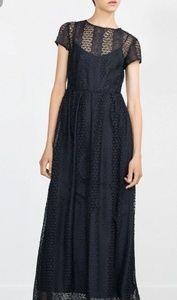 ZARA Guipure Crochet Lace Navy Maxi Dress